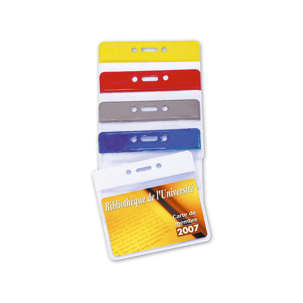 batch of 1 600 flexible badge holders with reinforced strip 4 colours