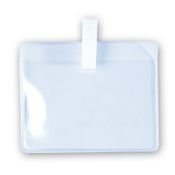 porte badges souples avec clip en plastique blanc