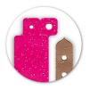 two sode of classic vinyl glitter wristbands brown pink en