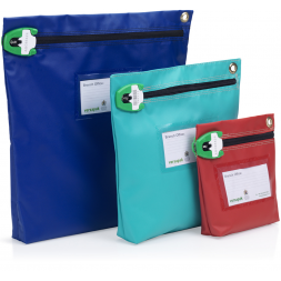 three different pouch size blue green red colors