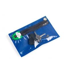 keys in blue pouch with secure seal en