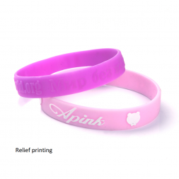 pink silicone wristband relief printing