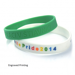engraved printing silicone wristband green and white