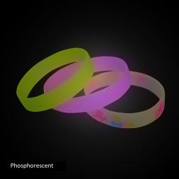 bracelet silicone jaune rose blanc personnalise en phosphorescence
