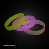 three phosphorescent silicone wristband white yellow and pink en