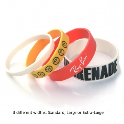 four different silicone wristbands standard large extra large en
