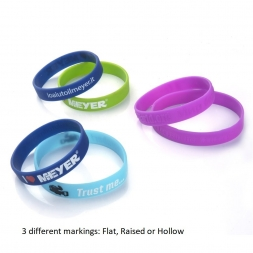 three different marking on silicone wristbands flat raised or hollow en