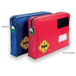 customized two bags blueu red with sbe logo en