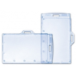 two rigid badge holders with zip fastener en