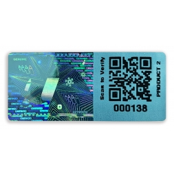 custom blue hologram qr sequential number code eng