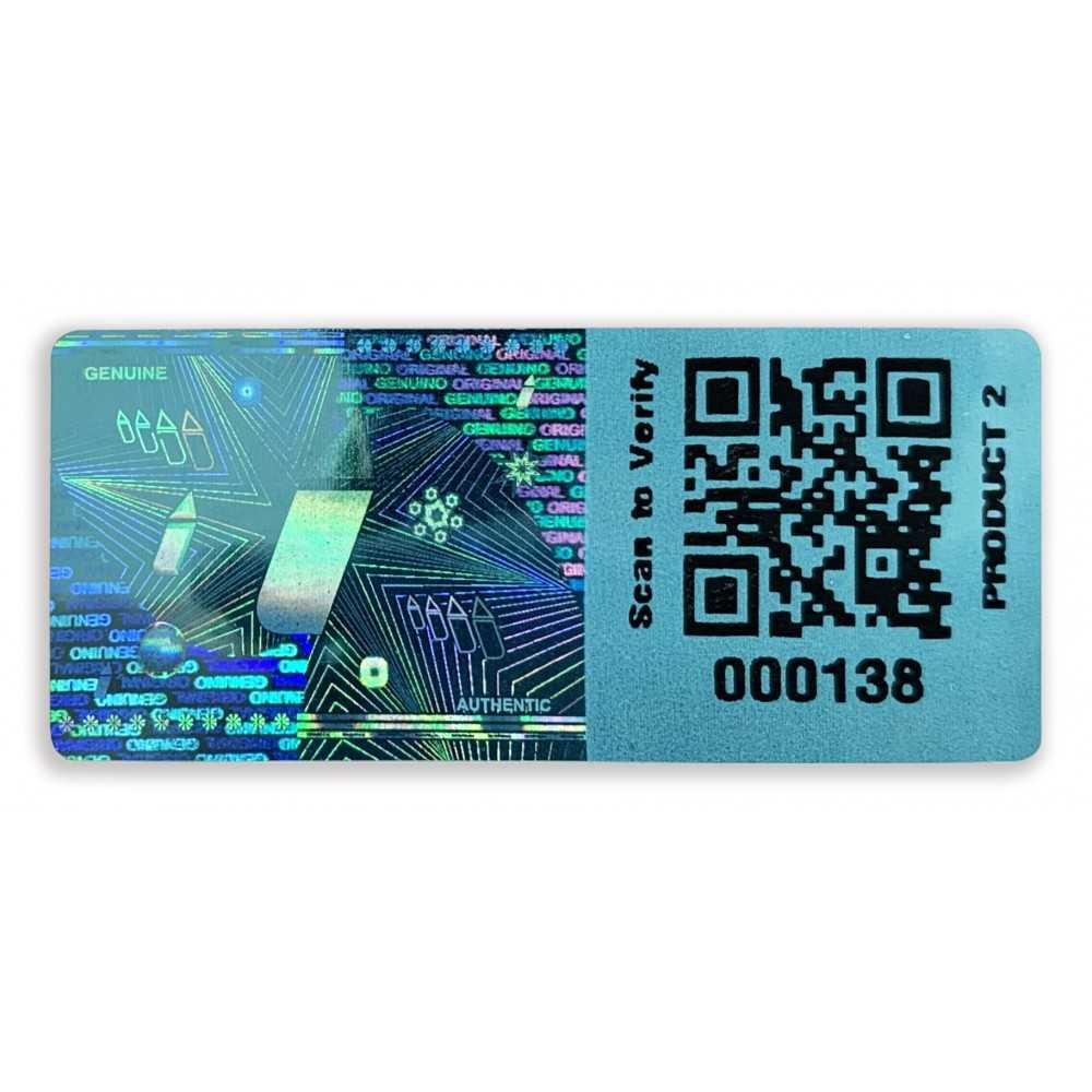 custom blue hologram qr sequential number code eng