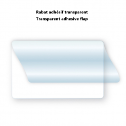 transparent flap pre-positioned or not for pvc card visual