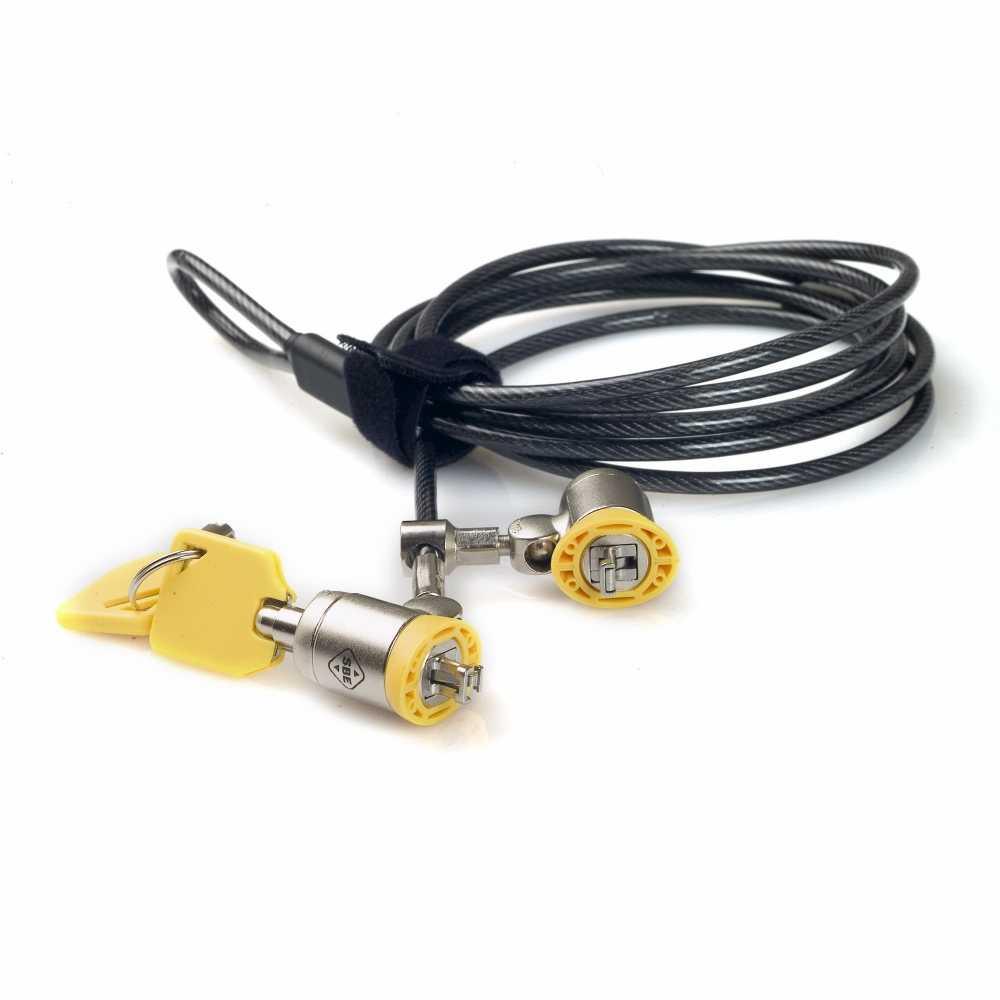 cable antivol pc double tete serrure adapatee