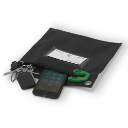 Secure pouch for carrying keys and smartphones sbe open