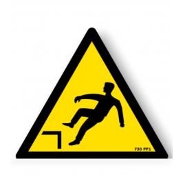 Panneau danger picto risque chute avec denivellation