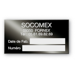 socomex customized black aluminum manufacturer's plate