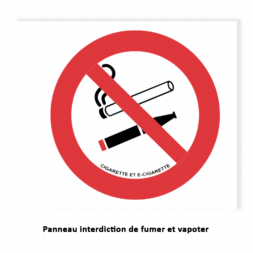 consigne interdiction de fumer et vapoter kit hotels