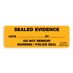 anti-fraud adhesive seal sealed evidence with sequential numbers yellow background