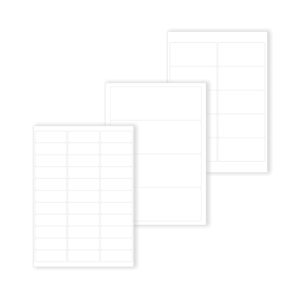 plusieurs modeles d etiquette polyester economique blanche en planche a4 laser