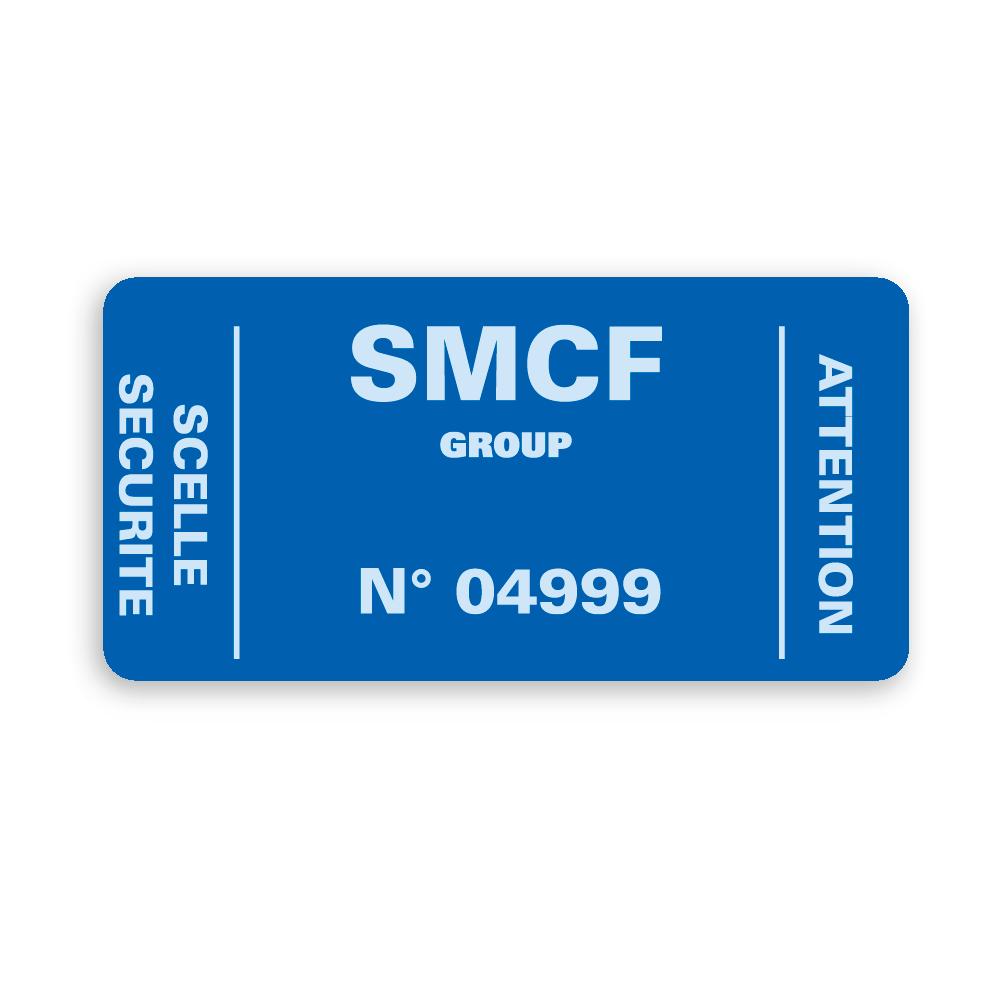 example custom blue security seal white printing smcf