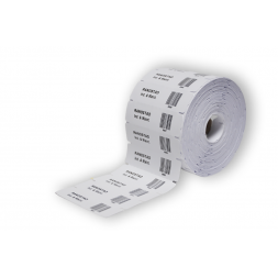 Roll of pre-cut iron-on textile labels customized