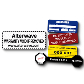 VOID label, security seals: anti-fraud labels