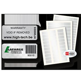 Etiquettes d'inventaire sécurisées