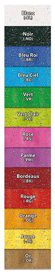 Colour palette for SBE glitter vinyl wristbands SBE