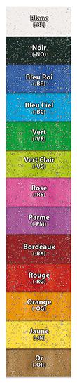 Palette de couleurs pour les bracelets vinyle pailletés SBE