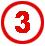 Chiffre 3 rouge cerclé