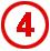 Chiffre 4 rouge cerclé