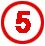 Chiffre 5 rouge cerclé