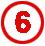 Chiffre 6 rouge cerclé