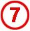 Chiffre 7 rouge cerclé
