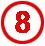 Chiffre 8 rouge cerclé