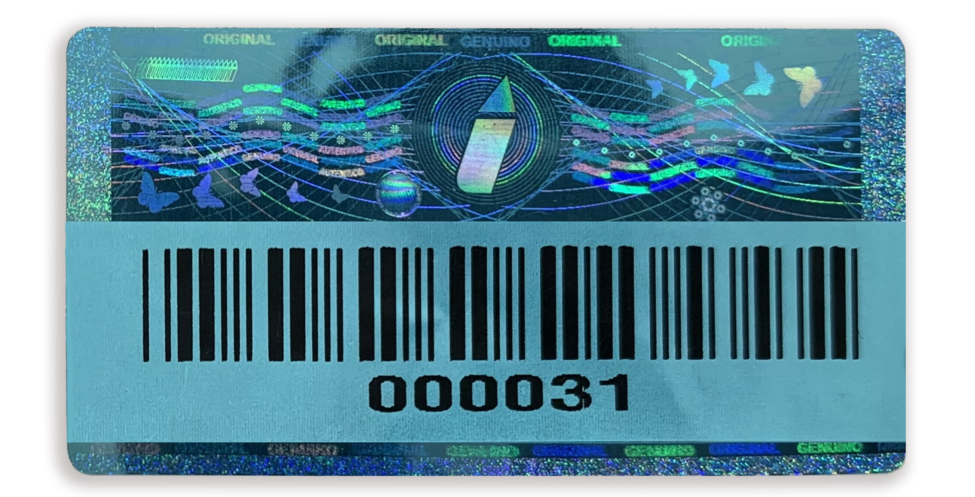 blue hologram example colour barcode