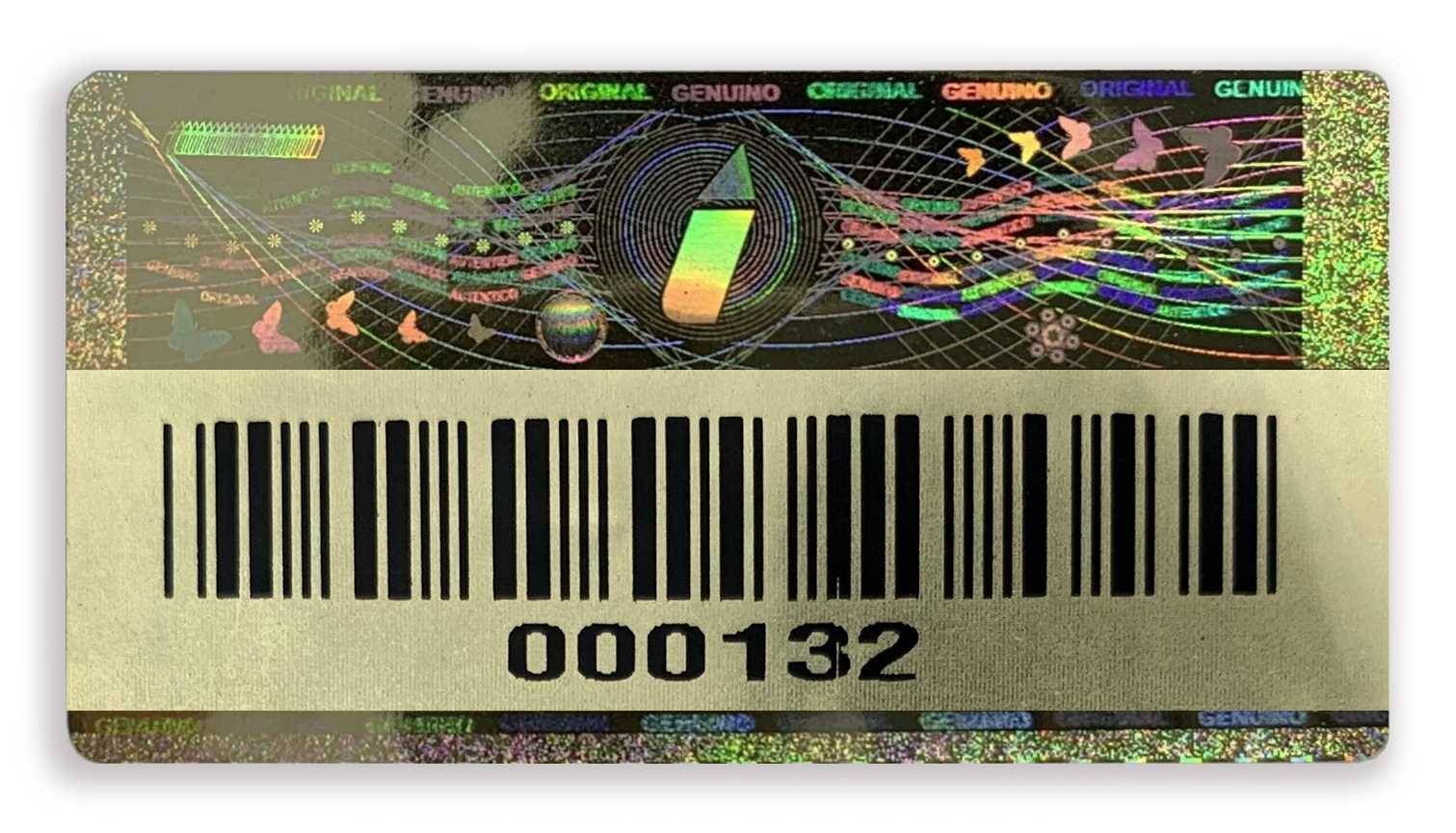 gold hologram barcode example colour