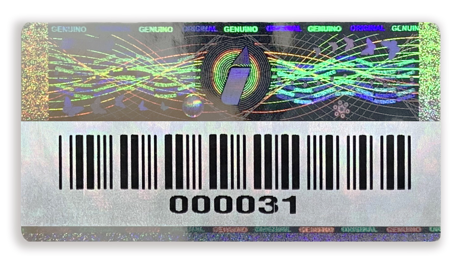 hologram silver purple reflect barcode