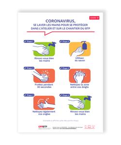 affiche covid etapes pour se laver les mains