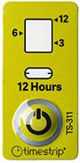 etiquette indicateur temps douze heures couleurs verte timestrip