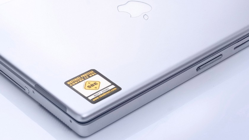 sbe label on laptop with better adhesive
